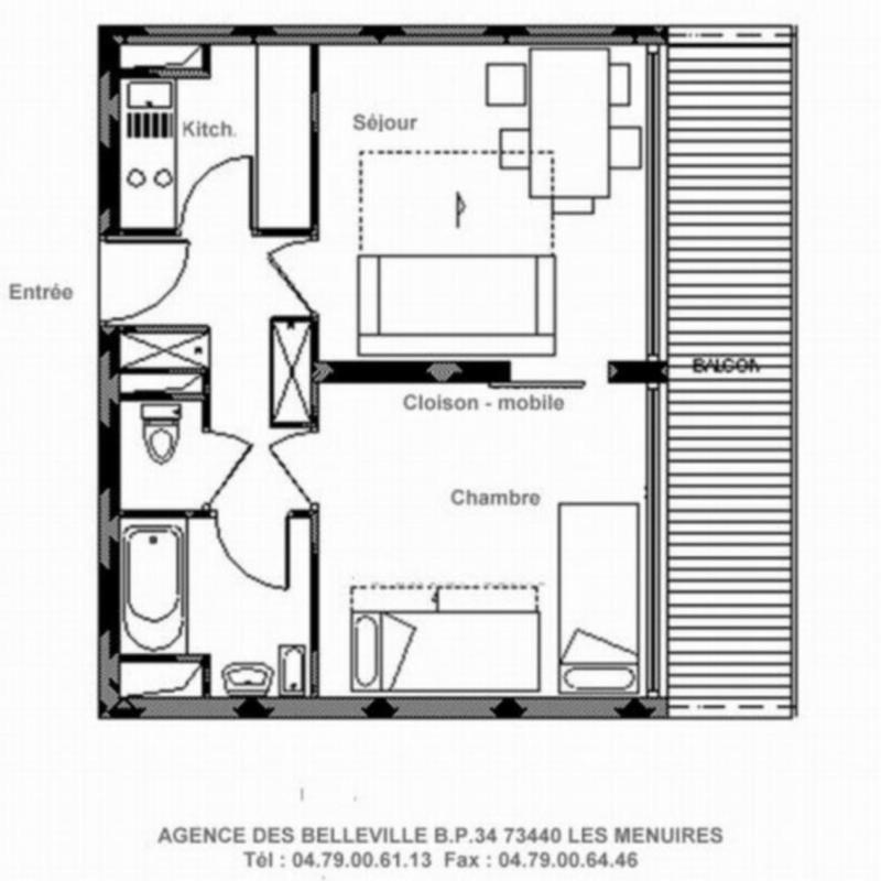 Vacances en montagne Appartement 2 pièces 5 personnes (519) - Résidence les Aravis - Les Menuires - Plan