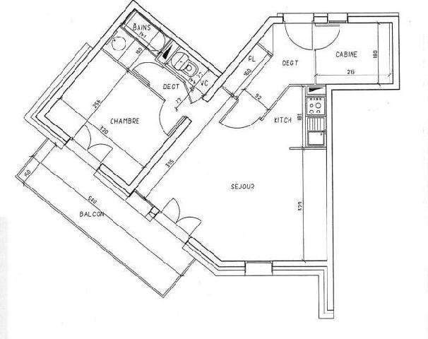 Vacances en montagne Appartement 2 pièces 8 personnes (319) - Résidence les Balcons d'Olympie - Les Menuires - Plan