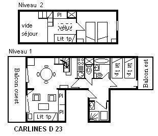 Holiday in mountain resort 3 room duplex apartment 6 people (D23) - Résidence les Carlines - Méribel