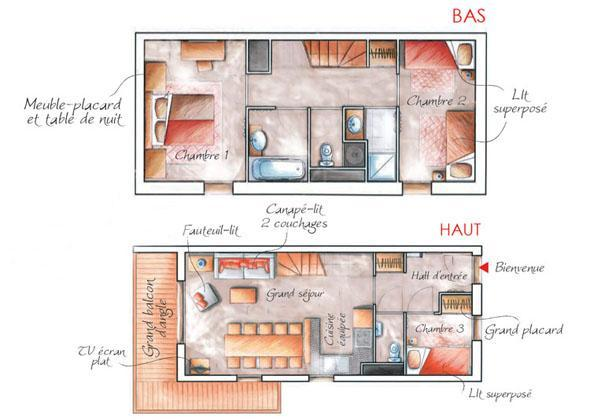 Holiday in mountain resort 3-4 room duplex apartment 8 people (003) - Résidence les Chalets des Rennes - Vars - Plan