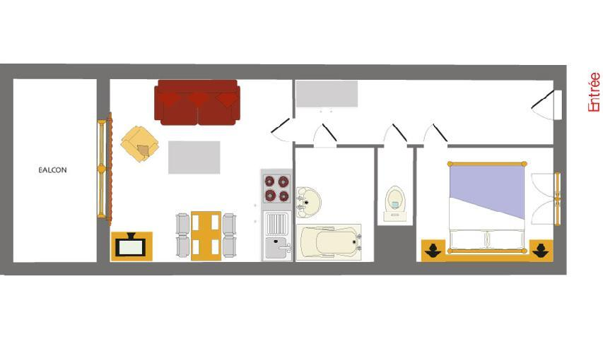 Vacances en montagne Appartement 2 pièces 4 personnes - Résidence les Chalets des Rennes - Vars - Plan