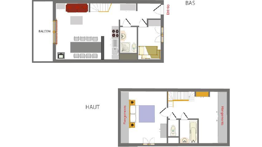 Holiday in mountain resort 2-3 room duplex apartment 6 people (002) - Résidence les Chalets des Rennes - Vars - Plan