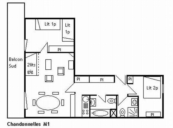 Vacances en montagne Appartement 3 pièces 6 personnes (M1) - Résidence les Chandonnelles I - Méribel - Plan