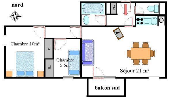 Vacances en montagne Appartement 3 pièces 6 personnes (13) - Résidence les Essarts - Val Cenis - Plan