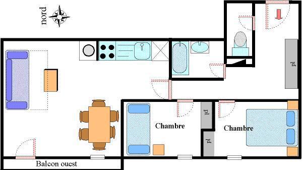 Urlaub in den Bergen 3-Zimmer-Appartment für 6 Personen (19) - Résidence les Essarts - Val Cenis