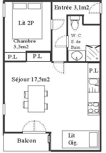 Wakacje w górach Apartament 2 pokojowy 4 osób (127) - Résidence Les Fleurs - Aussois - Plan