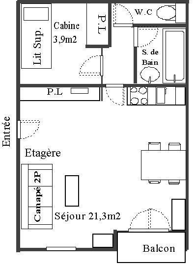 Wakacje w górach Studio kabina 4 osoby (30) - Résidence Les Fleurs - Aussois - Plan