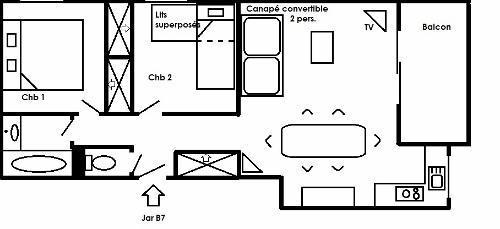 Vacances en montagne Appartement 3 pièces 6 personnes (B7) - Résidence les Jardins du Morel - Méribel - Plan