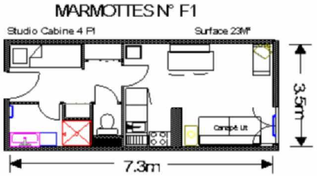 Holiday in mountain resort Studio 4 people (F1) - Résidence les Marmottes - Gourette - Plan