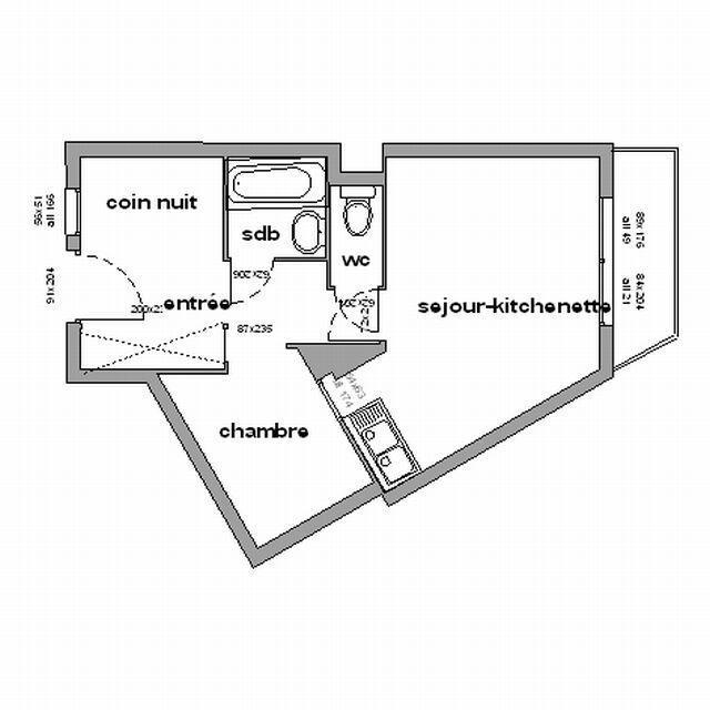Vacances en montagne Appartement 2 pièces cabine 6 personnes (111) - Résidence les Marmottes A1 - Chamrousse - Plan