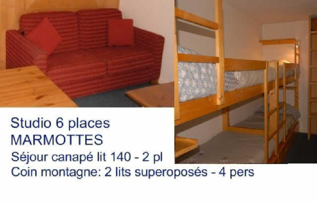 Holiday in mountain resort Studio 6 people (A3) - Résidence les Marmottes - Gourette - Bed