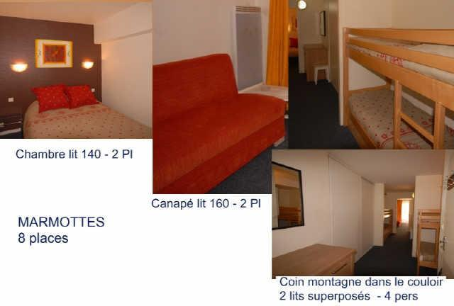Holiday in mountain resort Studio cabin 8 people (MAR8) - Résidence les Marmottes - Gourette - Bed