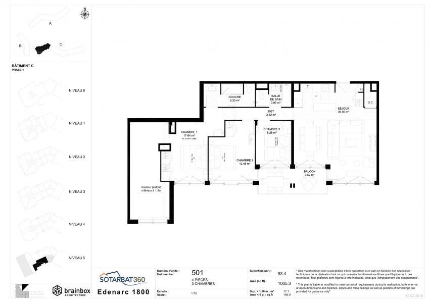 Wakacje w górach Apartament 5 pokojowy 7-9 osób (501) - Résidence les Monarques - Les Arcs - Plan