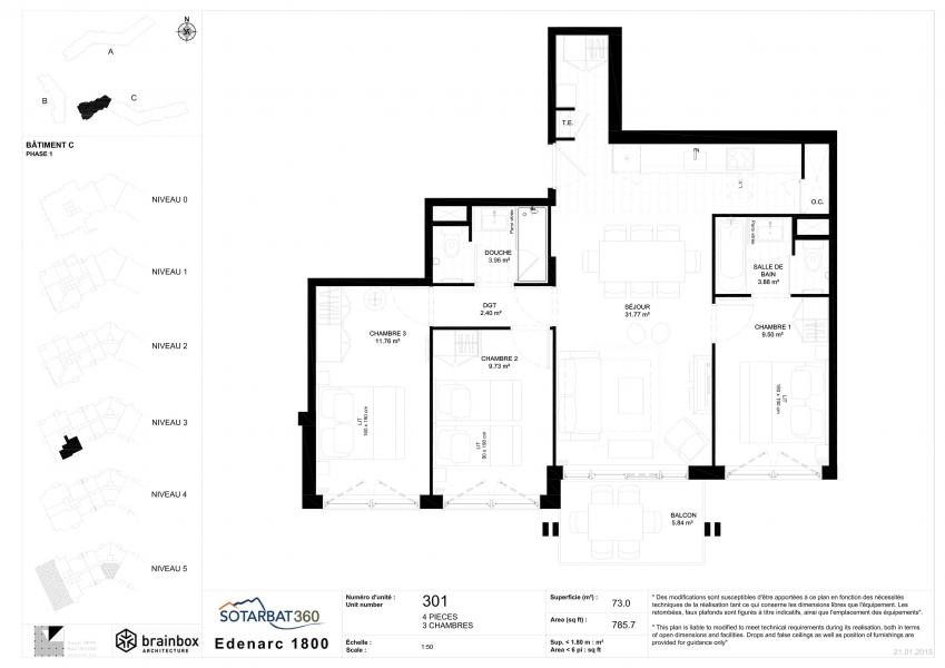 Каникулы в горах Апартаменты 4 комнат 6 чел. (301) - Résidence les Monarques - Les Arcs - план