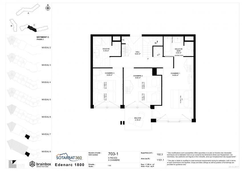 Каникулы в горах Апартаменты 5 комнат 10 чел. (703) - Résidence les Monarques - Les Arcs - план