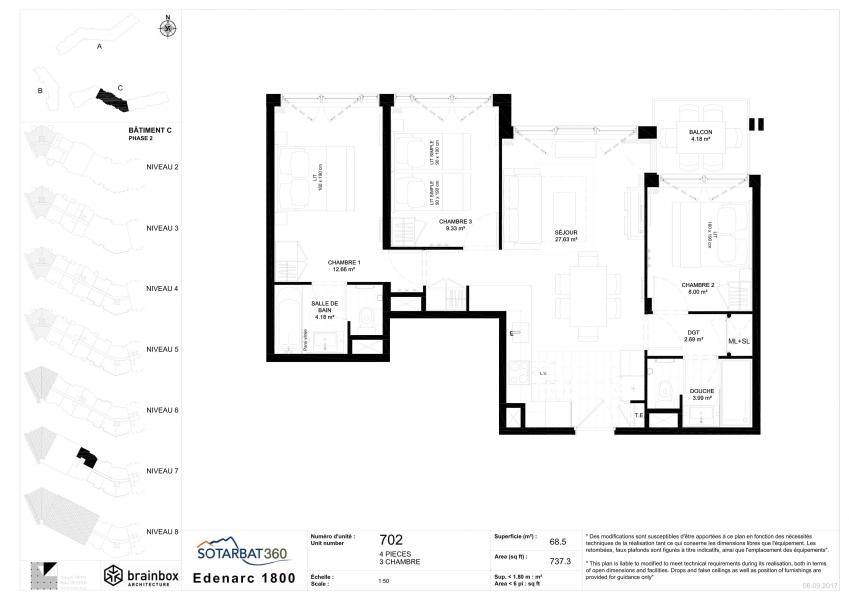 Wakacje w górach Apartament 4 pokojowy 6 osób (702) - Résidence les Monarques - Les Arcs - Plan