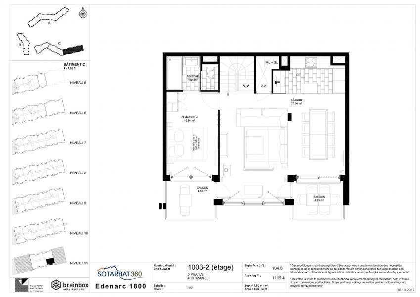 Wakacje w górach Apartament 5 pokojowy 8 osób (1003) - Résidence les Monarques - Les Arcs