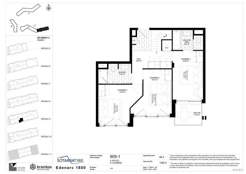 Wakacje w górach Apartament 4 pokojowy 8 osób (905) - Résidence les Monarques - Les Arcs - Plan