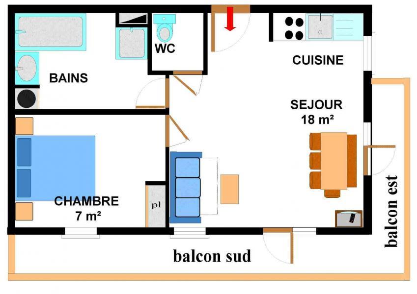 Vacances en montagne Appartement 2 pièces 4 personnes (005) - Résidence les Sports - Aussois