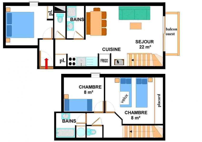 Vacances en montagne Appartement duplex 4 pièces 8 personnes (015) - Résidence les Sports - Aussois - Plan