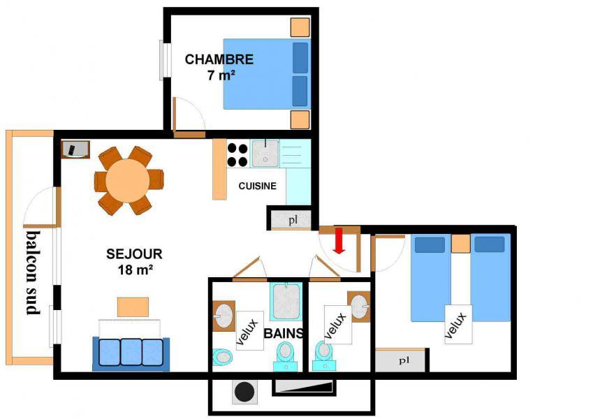Vacances en montagne Appartement 3 pièces 6 personnes (017) - Résidence les Sports - Aussois