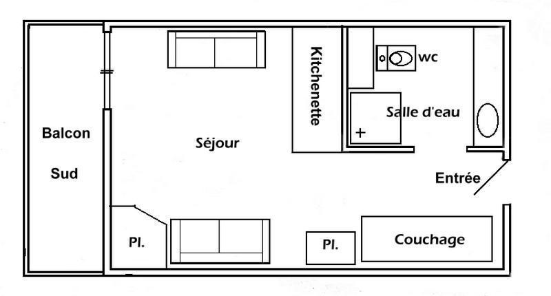 Каникулы в горах Квартира студия для 3 чел. (010) - Résidence Lezette 1 - Les Saisies - план