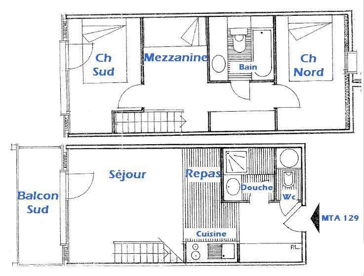 Vacaciones en montaña Apartamento 3 piezas mezzanine para 8 personas (129) - Résidence Mont Blanc A - Les Saisies - Plano