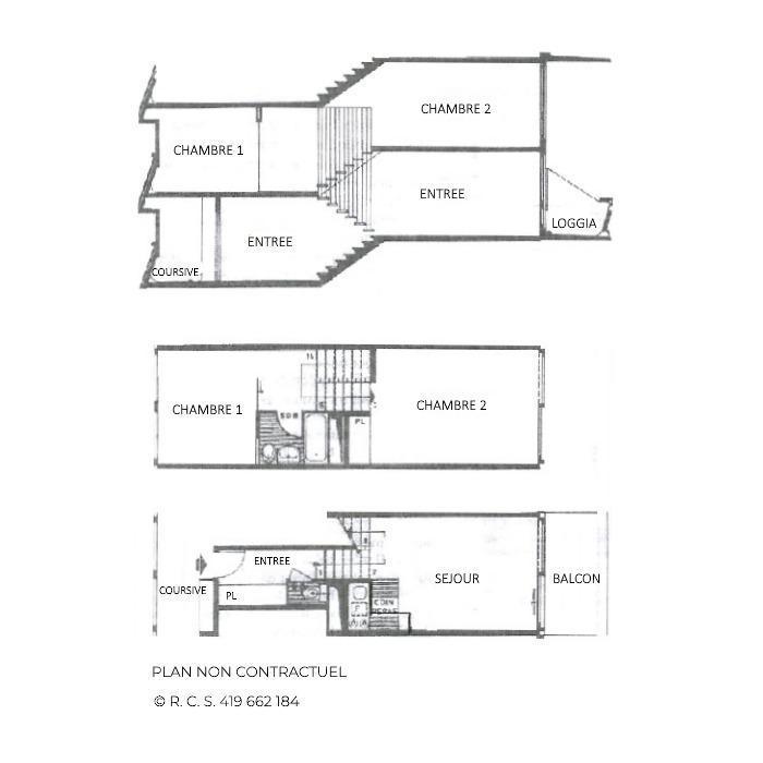 Vacances en montagne Appartement triplex 3 pièces 8 personnes (417) - Résidence Nant Benoit - Les Menuires - Plan