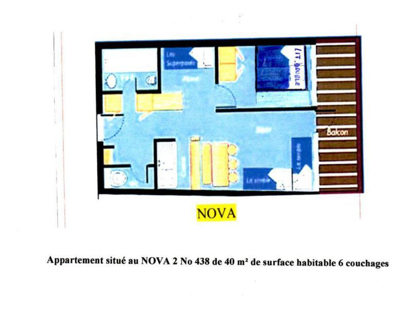 Wakacje w górach Apartament 2 pokojowy kabina 6 osób (0438) - Résidence Nova 2 - Les Arcs - Plan