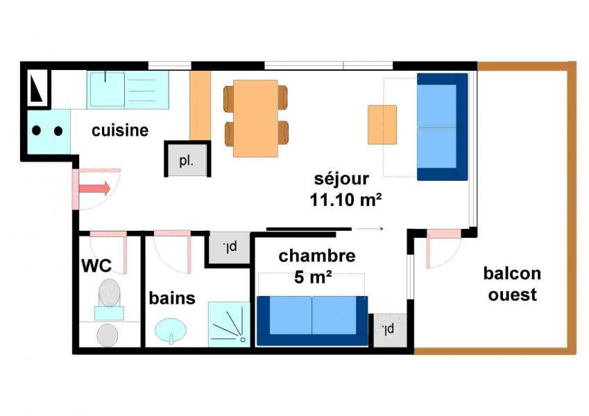 Vacances en montagne Studio cabine 4 personnes (A004) - Résidence Pied de Pistes - Val Cenis - Plan