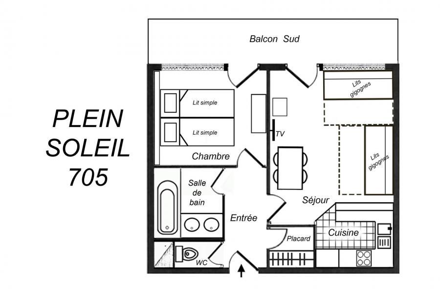 Vacances en montagne Appartement 2 pièces 5 personnes (705) - Résidence Plein Soleil - Méribel-Mottaret