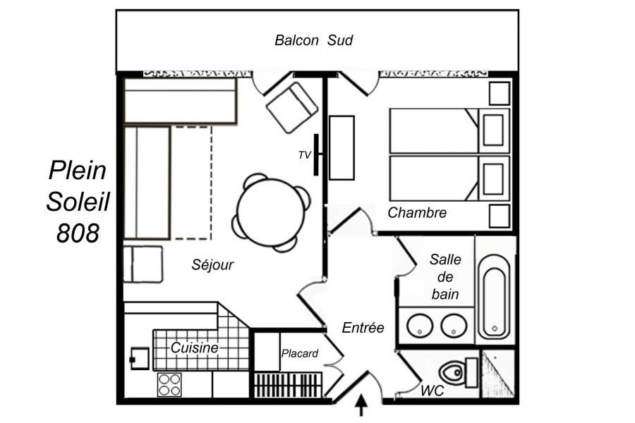 Vacances en montagne Appartement 2 pièces 5 personnes (808) - Résidence Plein Soleil - Méribel-Mottaret