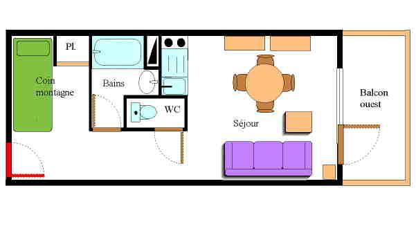 Holiday in mountain resort Studio sleeping corner 3 people (010) - Résidence Prés du Bois - Val Cenis