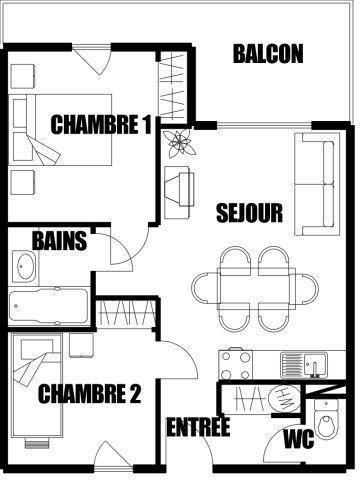 Vacances en montagne Appartement 3 pièces 7 personnes (02) - Résidence Refuge de l'Alpage - Morillon - Plan