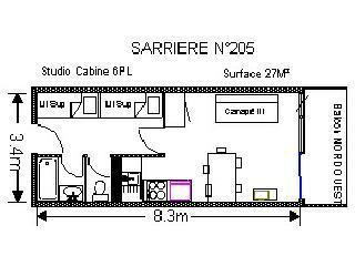 Holiday in mountain resort Studio 6 people (SAR205) - Résidence Sarrière - Gourette - Plan