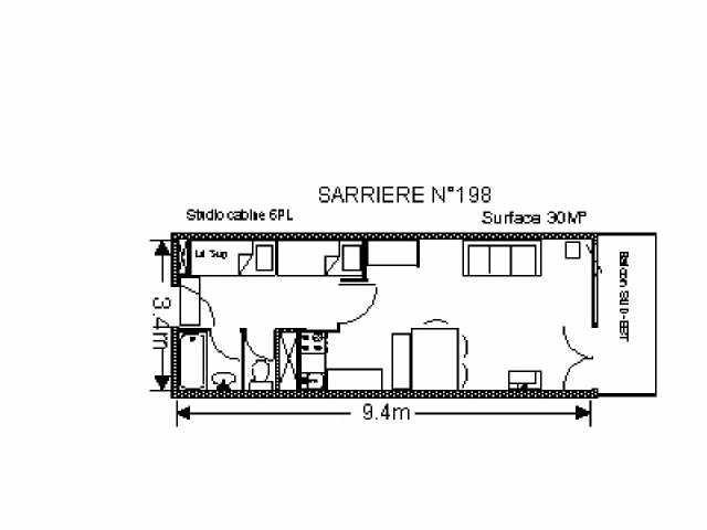 Holiday in mountain resort Studio 6 people (SAR198) - Résidence Sarrière - Gourette - Plan
