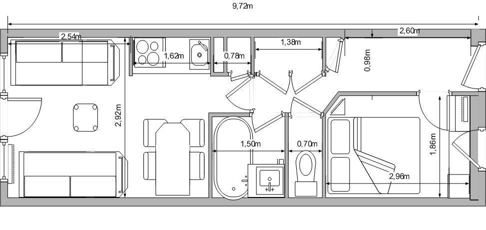 Vacances en montagne Appartement 2 pièces 5 personnes (107) - Résidence Sextant - Montchavin La Plagne - Plan