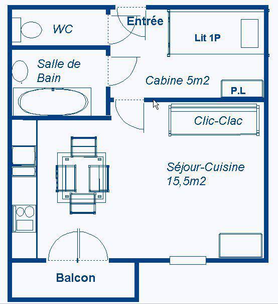 Wakacje w górach Studio z alkową 3 osoby (STS168) - Résidence St Sébastien 1 - Aussois - Plan