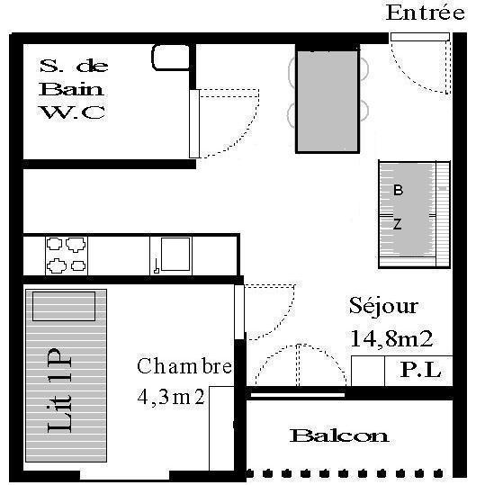 Wakacje w górach Studio z alkową 3 osoby (STS177) - Résidence St Sébastien 1 - Aussois