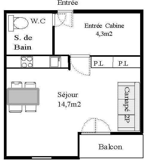 Wakacje w górach Studio 2 osoby (STS173) - Résidence St Sébastien 1 - Aussois
