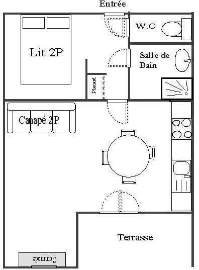Wakacje w górach Studio z alkową 4 osoby (STS4) - Résidence St Sébastien 2 - Aussois - Plan