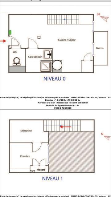 Wakacje w górach Apartament 2 pokojowy z antresolą 6 osób (STS181) - Résidence St Sébastien 2 - Aussois - Plan