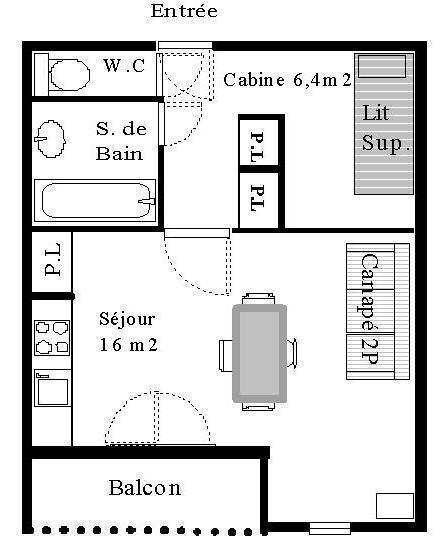 Wakacje w górach Studio z alkową 4 osoby (STS10) - Résidence St Sébastien 2 - Aussois - Zakwaterowanie