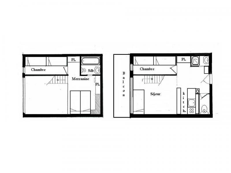 Vacances en montagne Appartement 3 pièces mezzanine 8 personnes (201) - Résidence Tournavelles - Les Arcs - Plan