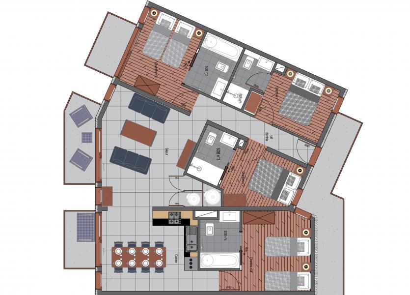 Wakacje w górach Apartament 5 pokojowy 8 osób (2) - Résidence Trolles Prestige - Saint Martin de Belleville - Plan