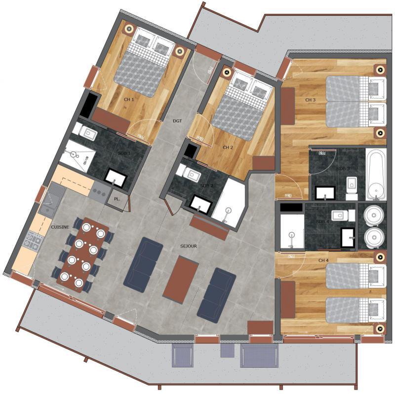 Wakacje w górach Apartament 5 pokojowy 8 osób (4) - Résidence Trolles Prestige - Saint Martin de Belleville - Plan