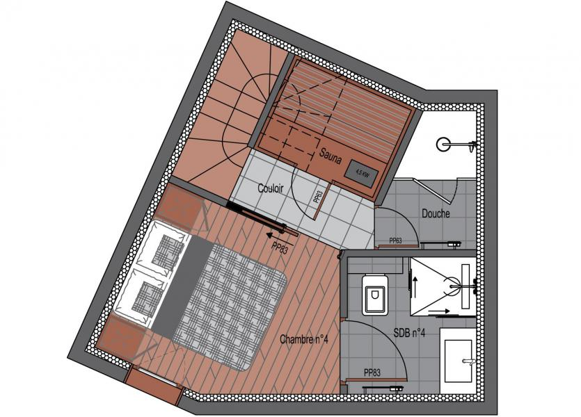 Wakacje w górach Apartament duplex 5 pokojowy 8 osób (1) - Résidence Trolles Prestige - Saint Martin de Belleville - Plan