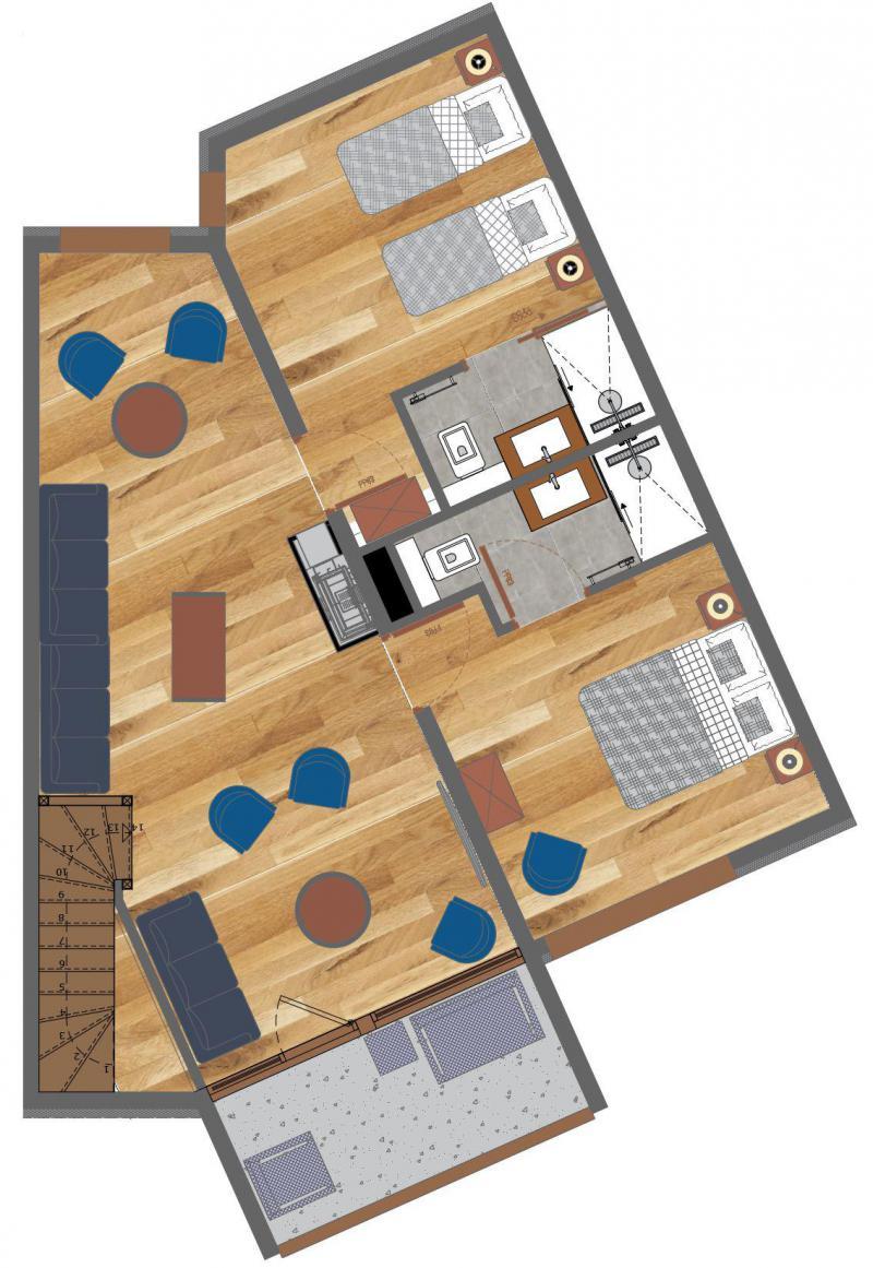 Wakacje w górach Apartament duplex 8 pokojowy 12 osób (5) - Résidence Trolles Prestige - Saint Martin de Belleville - Plan