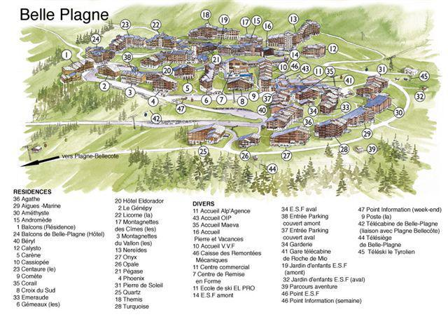 Holiday in mountain resort Résidence Turquoise - La Plagne - Plan