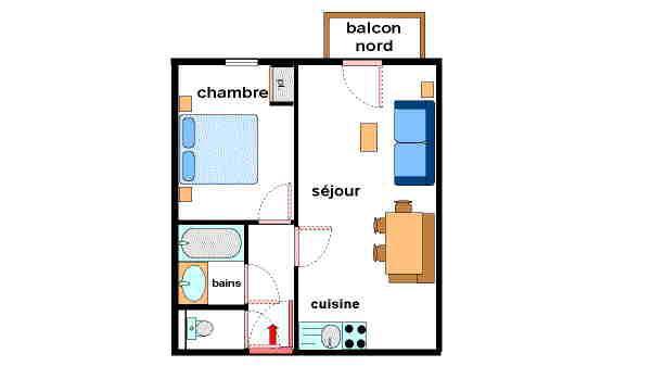 Vakantie in de bergen Appartement 2 kamers 4 personen (A21) - Résidence Valmonts - Val Cenis